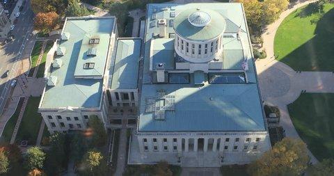 COLUMBUS, OHIO/UNITED STATES- NOVEMBER 8, 2017: Aerial view of the Ohio statehouse in Columbus 4K [Columbus]
