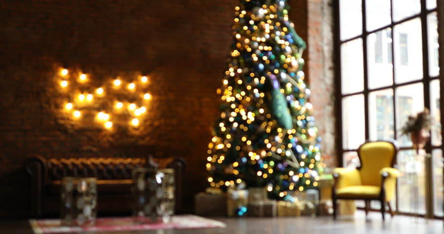 Unfocused Dark Room With Christmas And New Year Interior Decoration
