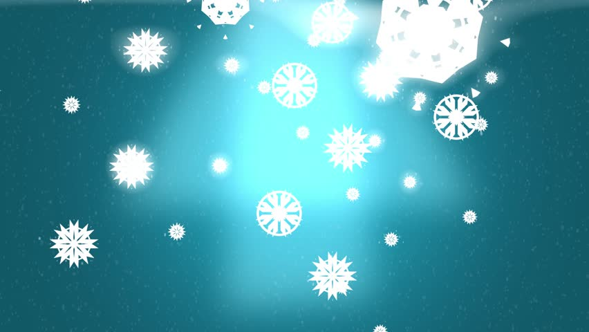 Blue Glowing Snowflake Holiday Winter Background
