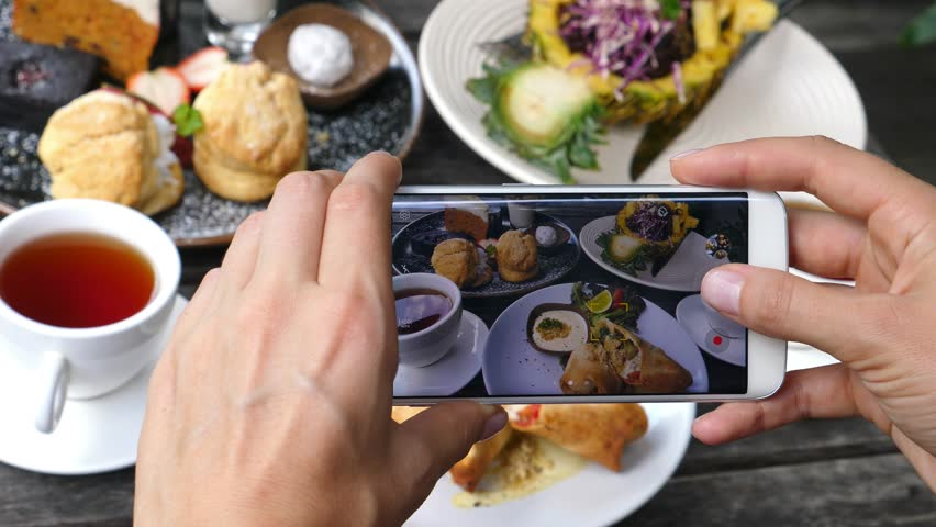 Closeup Of Hands Photographing Food With Phone In Restaurant. 4K.  | Shutterstock HD Video #33583567