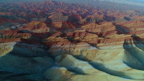 One of the most beautiful sections of Zhangye Danxia Rainbow Mountains showing striped pattern on sandstone hills. Part 3 of a 3 part series which can be merged to a continuous movie.