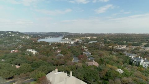 Affluent homes by Ladybird Lake in Austin, Texas