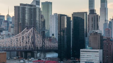 Day to night timelapse transition Roosevelt Island New York City view