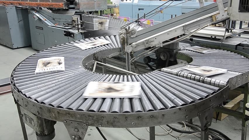 book and magazine perfect bound production line into print plant. Assembly line