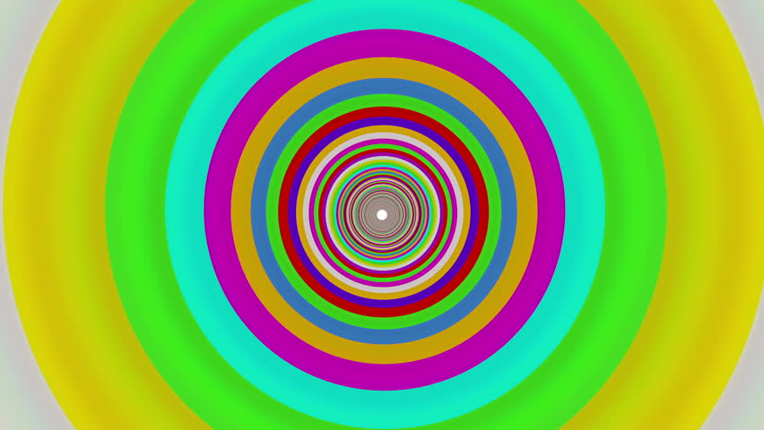 Colorful straight tunnel. 3D animation of flying through a straight colorful tunnel.