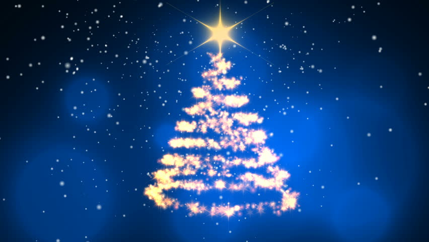 Loopable animation — Christmas Tree Blue Background - Merry Christmas and Happy New Year. The tree rotating and snowgoing.   Shutterstock HD Video #33642427