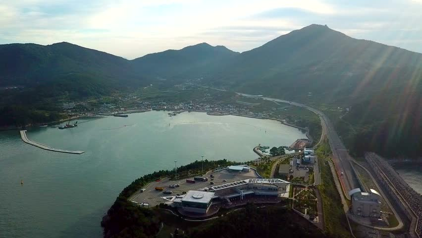 Aerial view of Gadeokdo service area, Busan South korea. Aerial view from drone.   Shutterstock HD Video #33680047