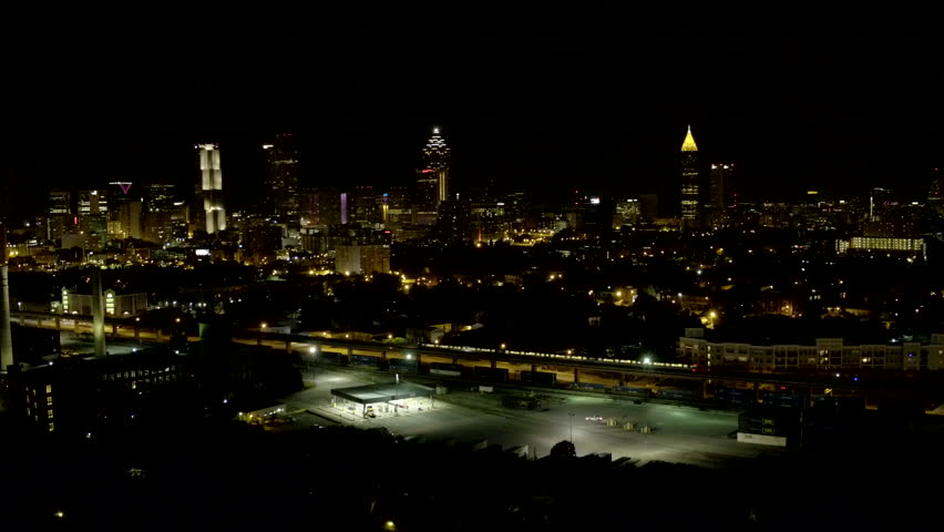 Atlanta Georgia Night Aerial Videography Downtown Atlanta Stock - Distance to atlanta georgia