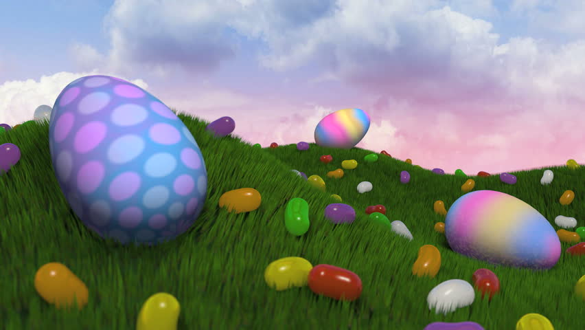"Easter Title Intro.   A short journey past easter eggs and jelly beans on grassy hills. Camera comes to a stop and ""Happy Easter"" appears with subtle particle emission."