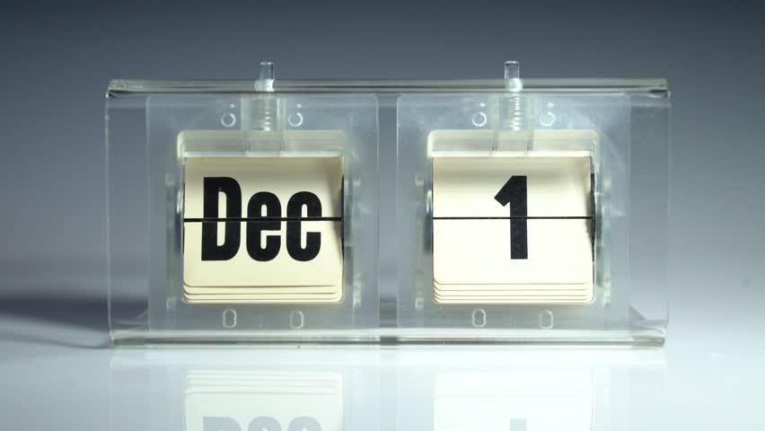 Flip calendar 4k video. December.