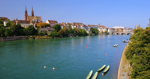 Old city center of Basel with Munster cathedral and the Rhine river, Switzerland, Europe.