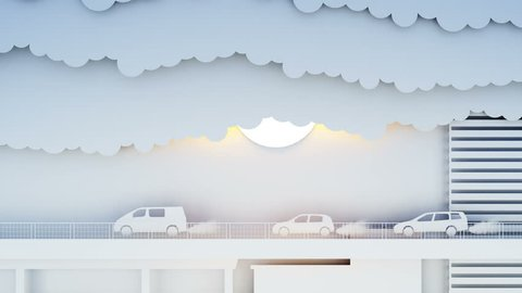 Paper car pollutes the atmosphere. City in smog. Creative ecological concept. Realistic 4k animation.