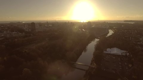 Aerial view of Sunrise of Cardiff, Wales, UK.