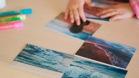 travel photo little child hands dreams concept. journey memories. sea trip.