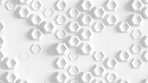 Abstract Hexagon Geometric Surface Loop 4A: light bright clean knurl texture hexagonal grid pattern, waving motion background canvas in pure wall architectural white. Seamless loop 4K UHD FullHD.
