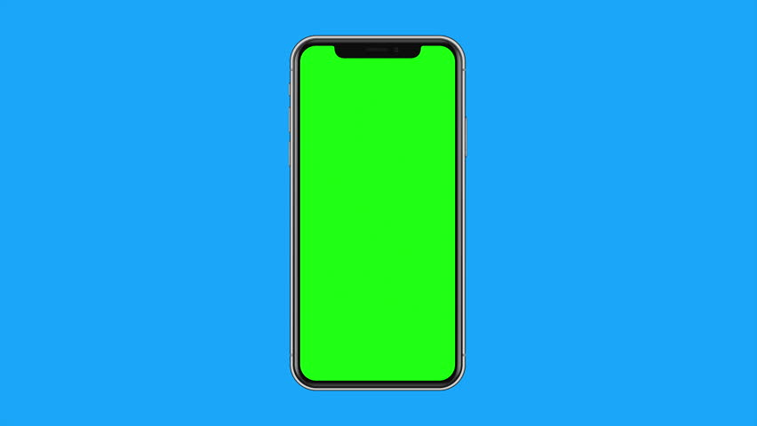iPhone X Blank Green Screen Smart Phone Isolated on Light Blue Background