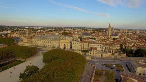 Ascending aerial shot above Montpellier's historical Peyrou district