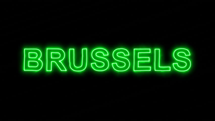 Neon flickering green capital name BRUSSELS in the haze. Alpha channel Premultiplied - Matted with color black | Shutterstock HD Video #33820069