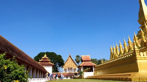 Beautiful architecture at Pha That Luang,Vientiane capital, Laos. Pha That Luang is a gold-covered large Buddhist stupa and be the most important national monument in Laos