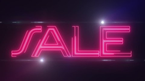 red laser neon SALE text with shiny light optical flares animation on black background - new quality retro vintage disco dance motion joyful advertisement commercial video footage loop design
