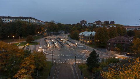 Elevated timelapse view of traffic intersection in Gothenburg, Sweden. 4K, 30p.