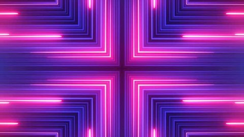 Abstract neon lights kaleidoscopic animation suited for tv shows, concerts ,music projections , vj projections at parties in night clubs, discos and  trance events.