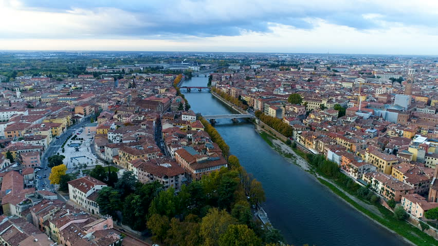 Cityscape Verona Italy City video from sky, birds view Aerial video. View of Riva Del Garda, Bridge Ponte Nuovo and Ponte delle Navi, Video in morning in 4K. | Shutterstock HD Video #33899887