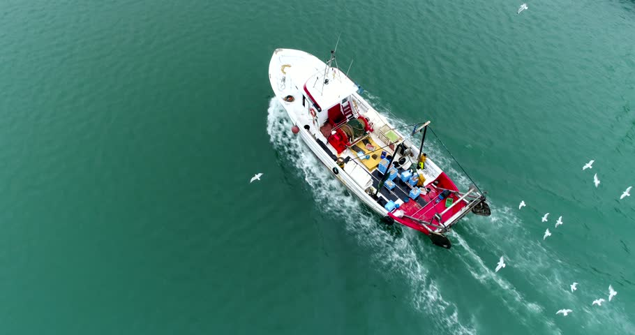 Fishing boat with seagulls flying around , aerial cinematic top view 4k
