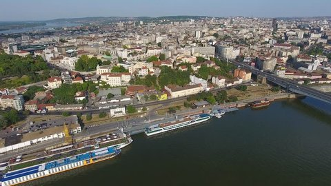 Aerial view of Belgrade cityscape from Sava river in Serbia at summer evening, 4k