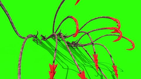 Monstrous Hooked Tentacles Attack Wall Front Green Screen 3D Rendering Animation