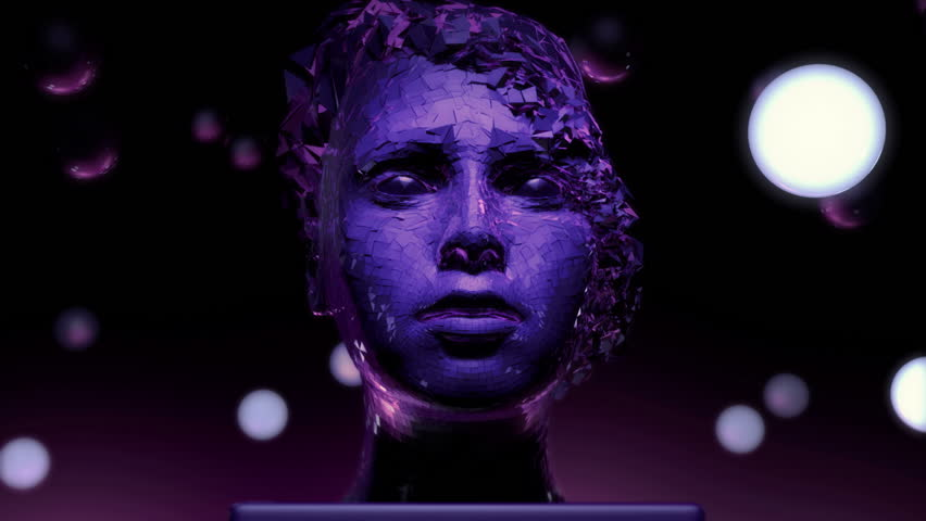 3D motion graphics of a female face modern sculpture. Abstract art | Shutterstock HD Video #33953947