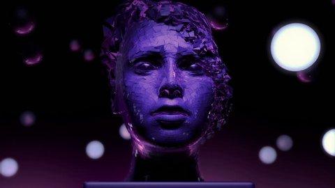 3D motion graphics of a female face modern sculpture. Abstract art