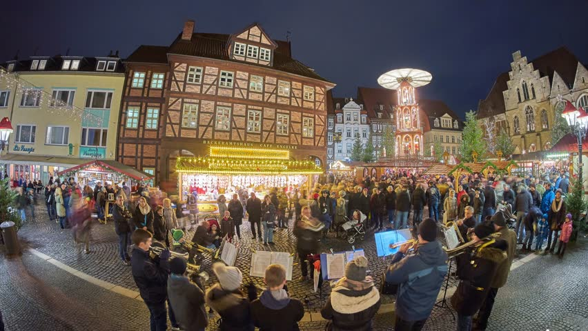Christmas Market on the historic market place in Hildesheim, Germany. Time lapse.   Shutterstock HD Video #33954478