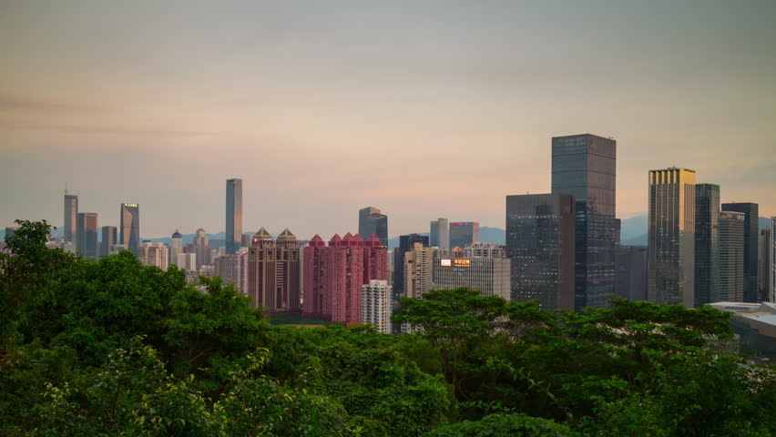 Sunset sky shenzhen famous lianhuashan park viewpoint cityscape downtown panorama 4k timelapse china | Shutterstock HD Video #33969967