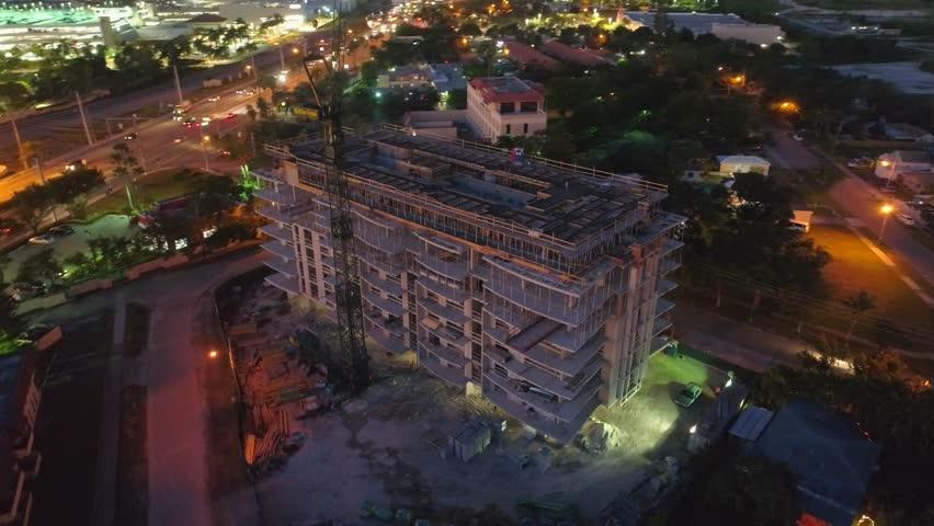 Building under construction at night | Shutterstock HD Video #33986887