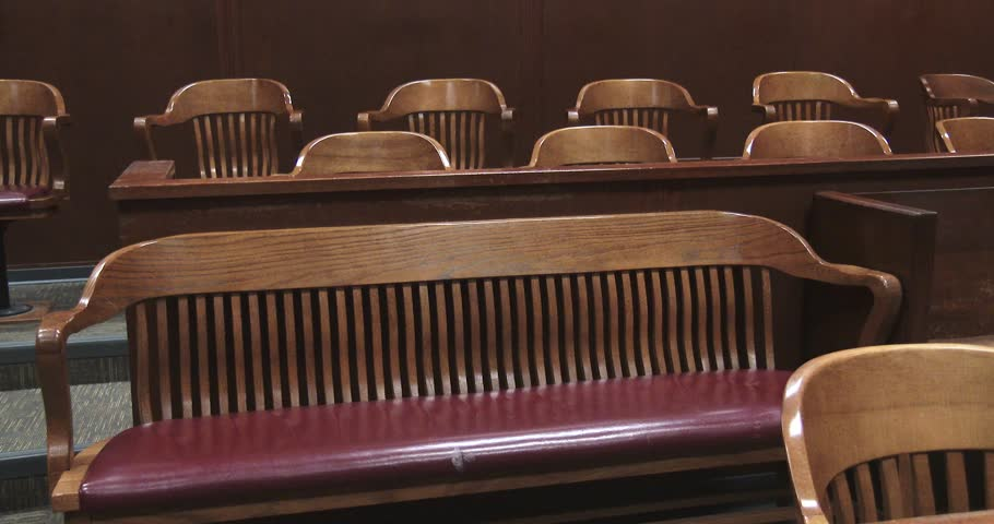 Pan Of Jury Box In Courtroom