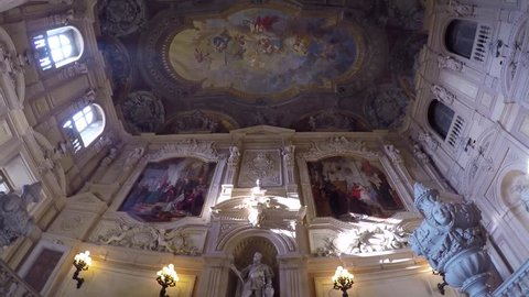TURIN, ITALY - DECEMBER 08, 2017: Palazzo Reale in the city center of Turin, video by Gopro camera