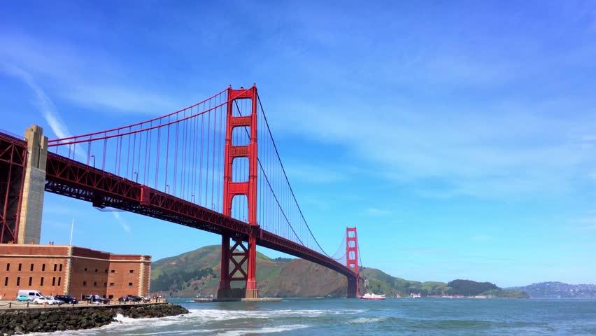 The Golden Gate Bridge, San Francisco, California, 4K footage, circa April 2017
