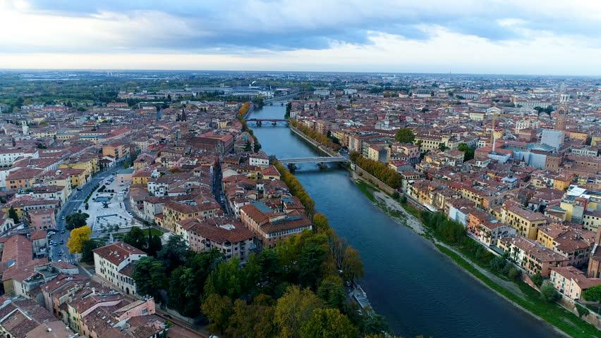 Verona Skyline Aerial Video View Italy. | Shutterstock HD Video #34020127