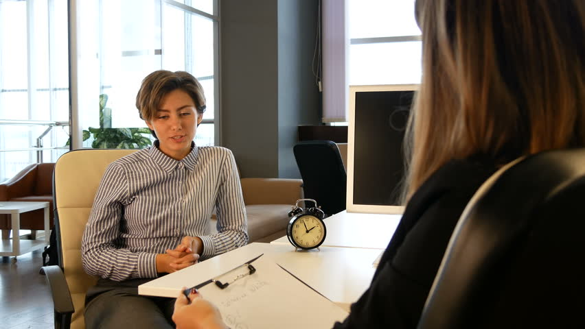 New employee interview with hr manager at office. Hiring staff, meeting new worker.