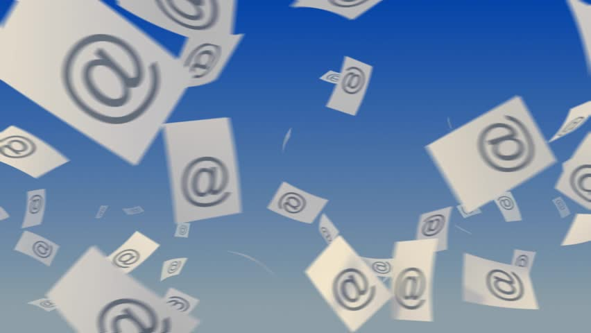 """Flying paper documents with """"at"""" symbol on sky background. Communication concept.  