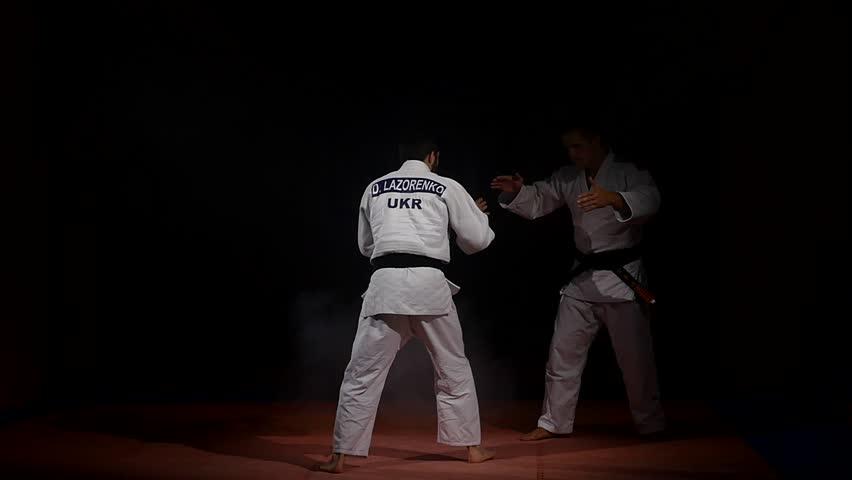 19.09.2017 - Chernivtsi, Ukraine. Two martial arts athletes during practice
