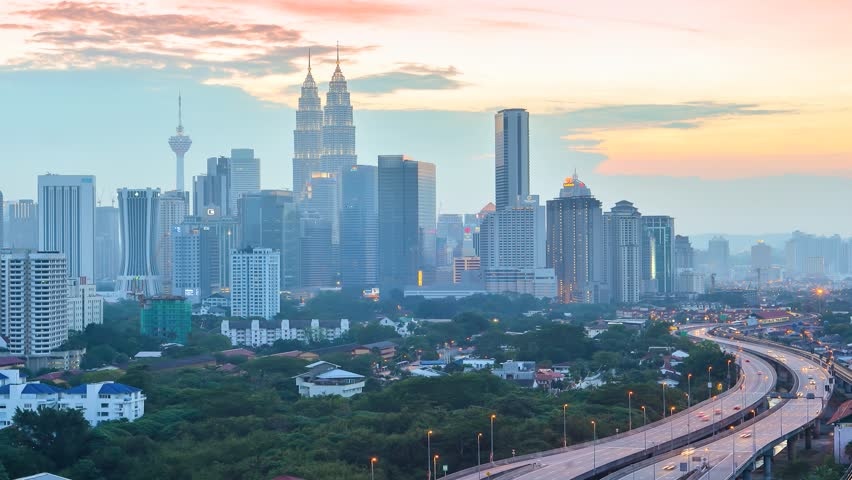 Time lapse of cloud scape and busy traffic during sunset of Kuala Lumpur, Malaysia #3405146