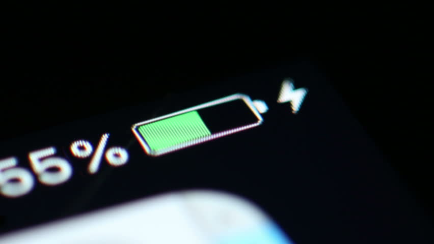 Time Lapse: A Smartphone Battery Is Charged From Zero to 100%. Close up macro shot of the battery level indicator on a smart phone being charged in time lapse. | Shutterstock HD Video #34052467
