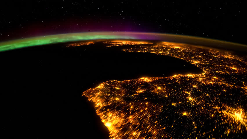 Planet Earth seen from the International Space Station with Aurora Borealis over the earth, Time Lapse 4K. Images courtesy of NASA Johnson Space Center.