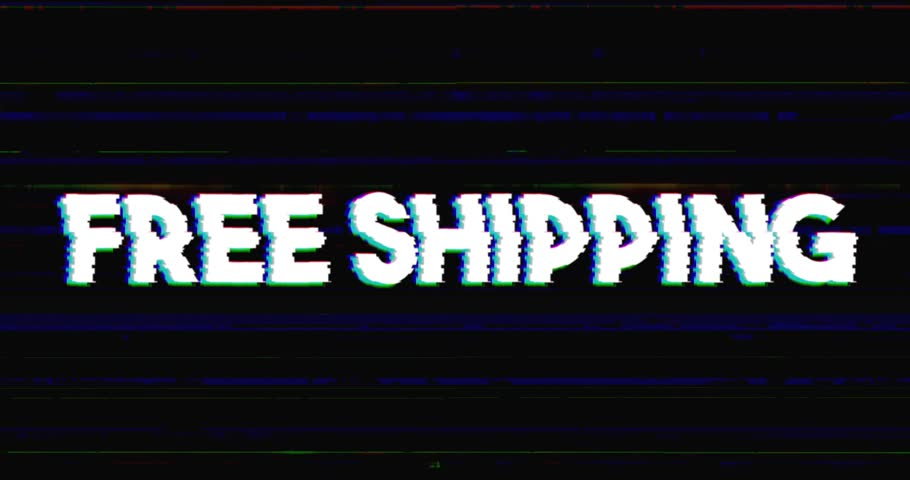 Glitch stile free shipping sales advertisement banner on glitched black background loop with alpha mask.