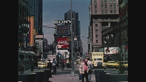 NEW YORK, 1971, Times Square, classic shot, crowds of people, buses, cars, taxis, looking north