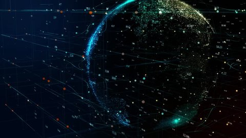 3D animation of planet Earth rotating in global futuristic cyber network with connection lines around globe. Neural artificial grid represents data and cryptocurrency exchange in business concept.