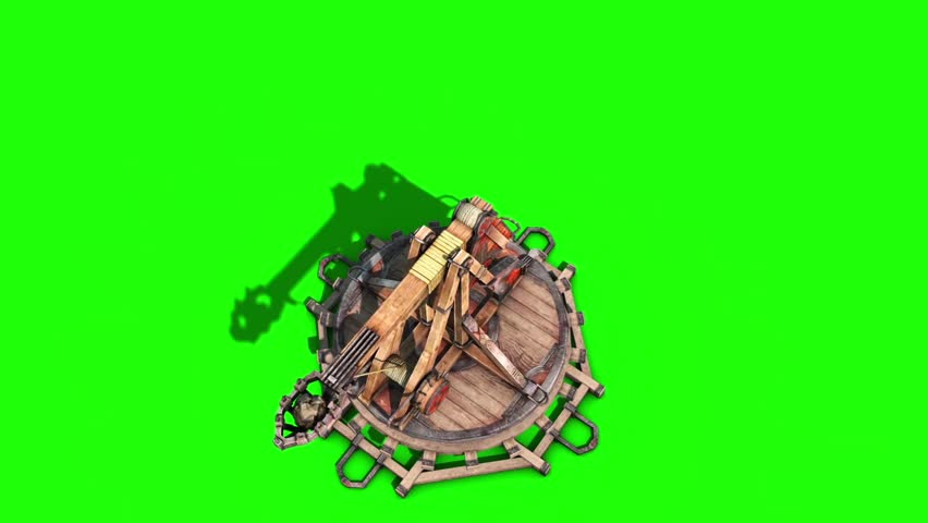 Catapult Wall Destruction Debris Green Screen Top Smoke Medieval 3D Renderings Animations