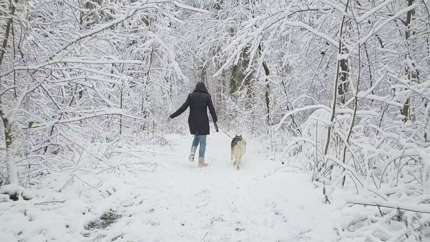 Walking Away In Snow
